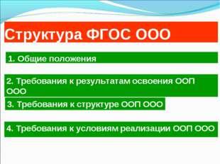 Структура ФГОС ООО 4. Требования к условиям реализации ООП ООО 1. Общие полож