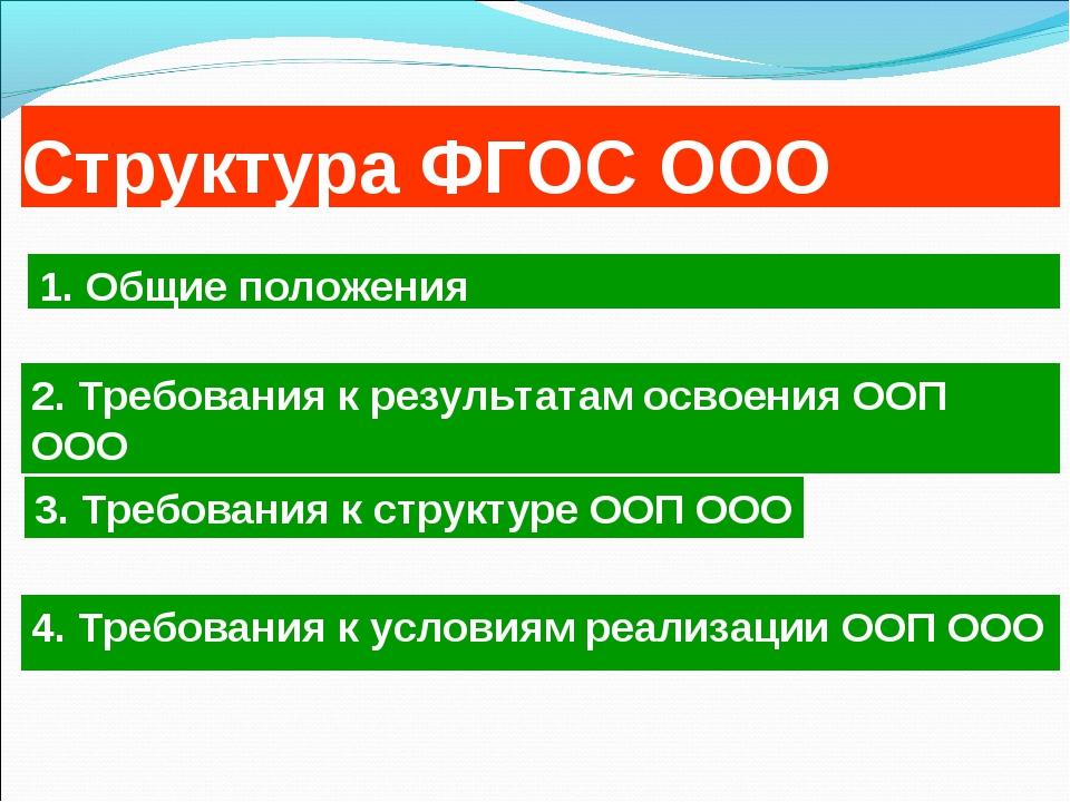 Структура ФГОС ООО 4. Требования к условиям реализации ООП ООО 1. Общие полож...