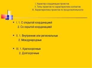 I. Характер координации проектов II. Типы проектов по характеристике контакто