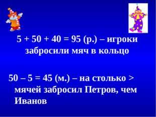 5 + 50 + 40 = 95 (р.) – игроки забросили мяч в кольцо 50 – 5 = 45 (м.) – на
