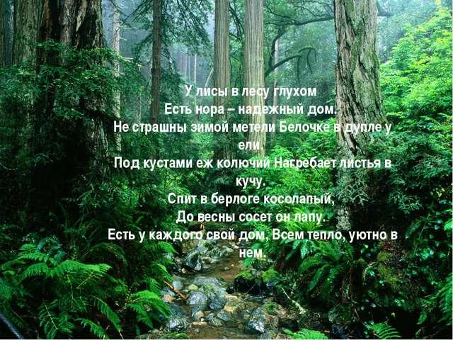 У лисы в лесу глухом Есть нора – надежный дом. Не страшны зимой метели Белочк...