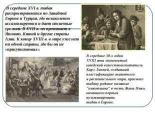 В середине XVI в. табак распространяется по Западной Европе и Турции, где в
