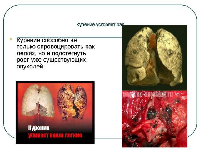 Курение ускоряет рак Курение способно не только спровоцировать рак легких, но...
