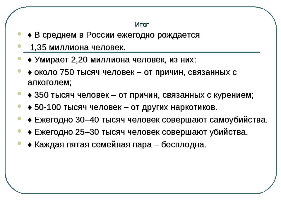 Итог ♦В среднем в России ежегодно рождается 1,35 миллиона человек. ♦Умирает...