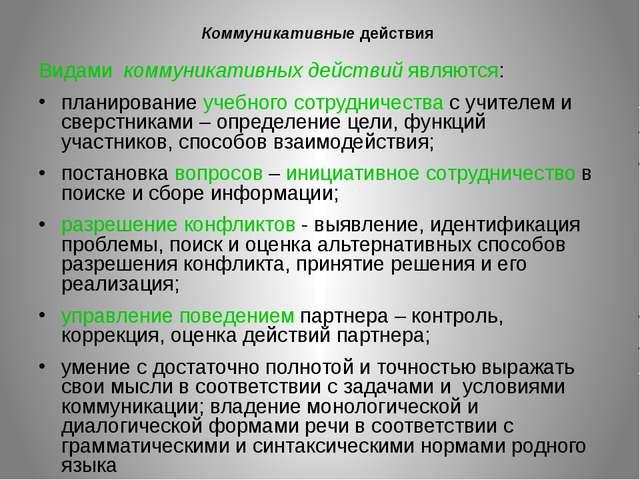 Коммуникативные действия Видами коммуникативных действий являются: планирован...