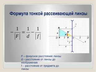 Формула тонкой рассеивающей линзы F – фокусное расстояние линзы d – расстояни