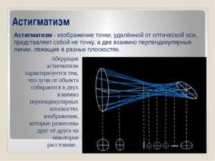 Астигматизм Астигматизм- изображение точки, удалённой от оптической оси, пре