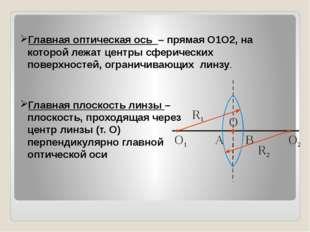 Главная оптическая ось – прямая О1О2, на которой лежат центры сферических пов