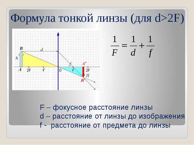 Формула тонкой линзы (для d>2F) F – фокусное расстояние линзы d – расстояние...