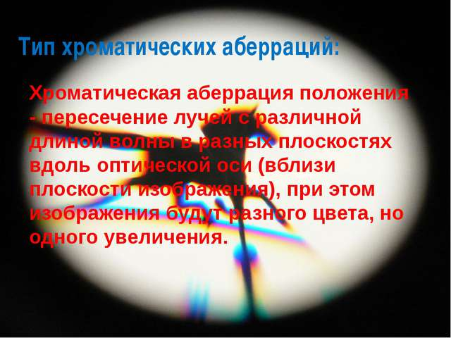 Тип хроматических аберраций: Хроматическая аберрация положения - пересечение...