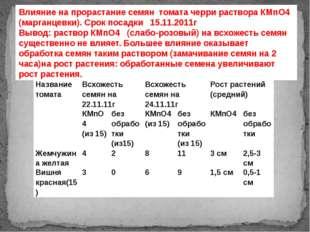 Влияние на прорастание семян томата черри раствора КМпО4 (марганцевки). Срок