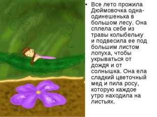 Все лето прожила Дюймовочка одна-одинешенька в большом лесу. Она сплела себе