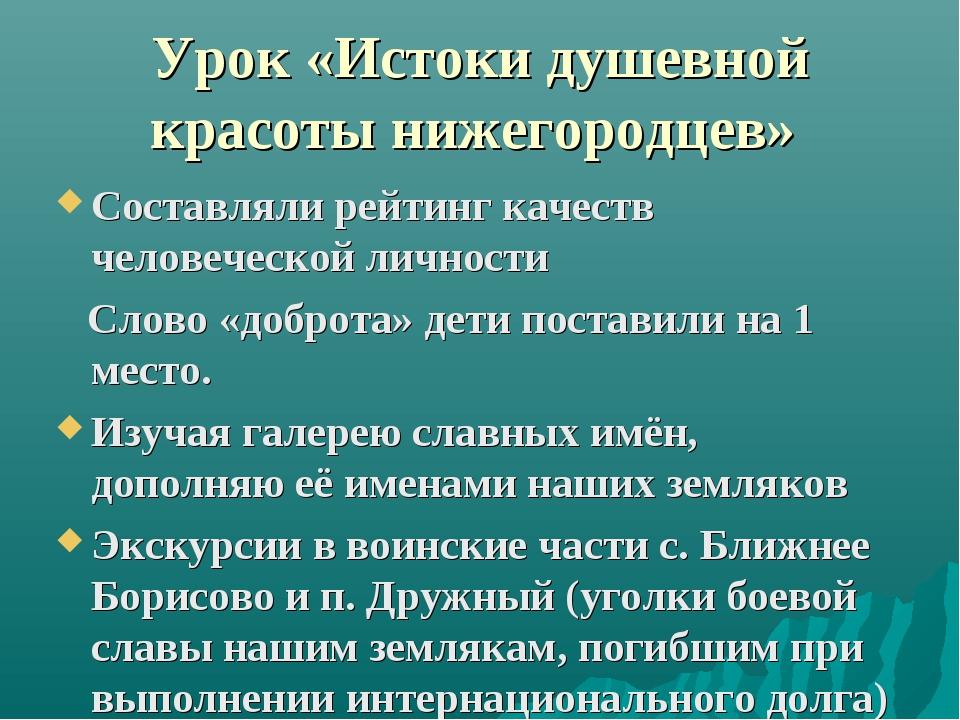 Урок «Истоки душевной красоты нижегородцев» Составляли рейтинг качеств челове...