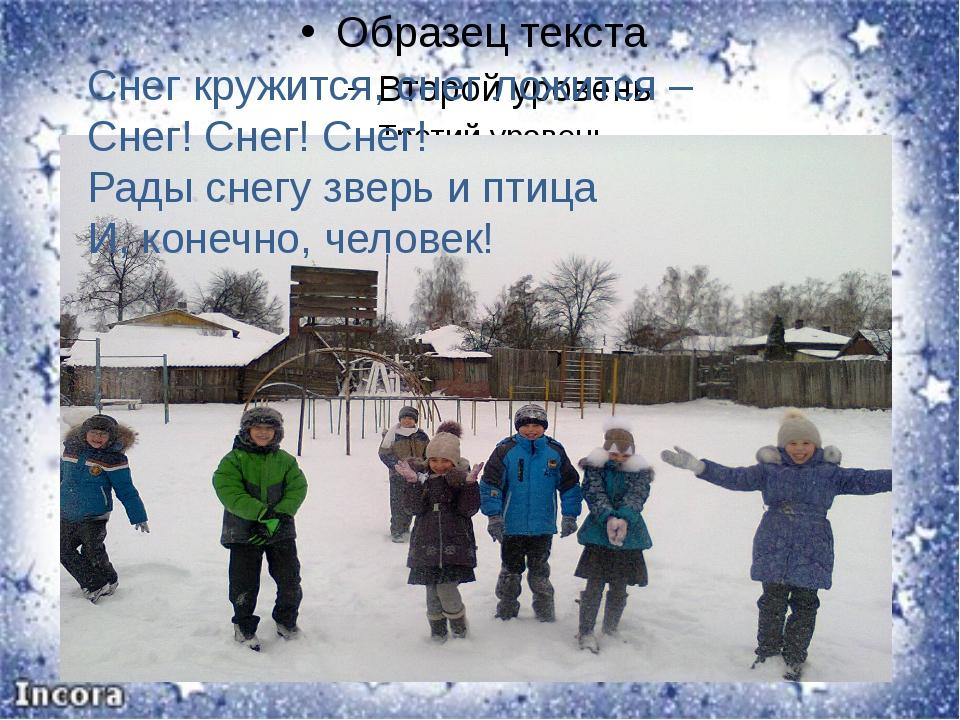 Снег кружится, снег ложится – Снег! Снег! Снег! Рады снегу зверь и птица И,...