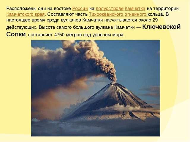 Расположены они на востоке России на полуострове Камчатка на территории Камча...