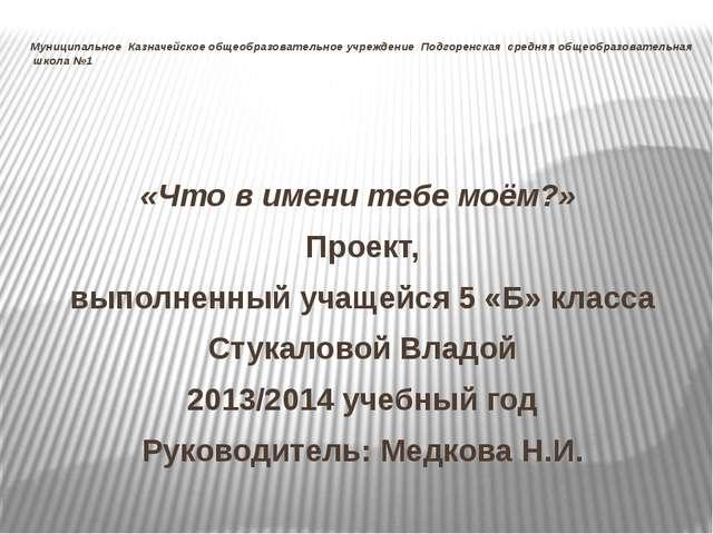 Муниципальное Казначейское общеобразовательное учреждение Подгоренская средня...