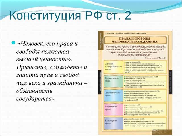 Конституция РФ ст. 2 «Человек, его права и свободы являются высшей ценностью....