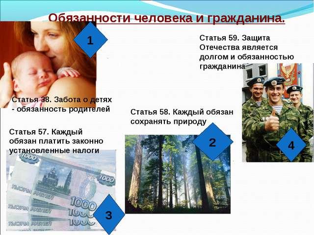 Обязанности человека и гражданина. 1 4 3 2 Статья 38. Забота о детях - обязан...