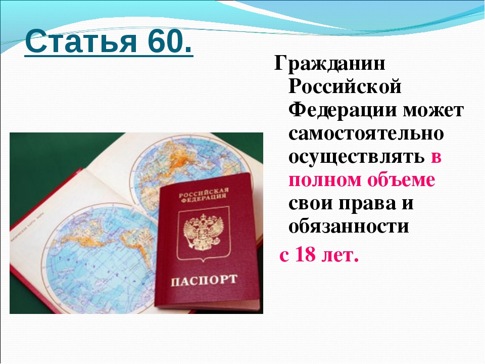 Статья 60. Гражданин Российской Федерации может самостоятельно осуществлять в...