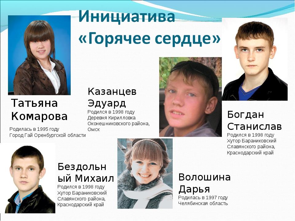 Родилась в 1995 году Город Гай Оренбургской области Татьяна Комарова Казанцев...