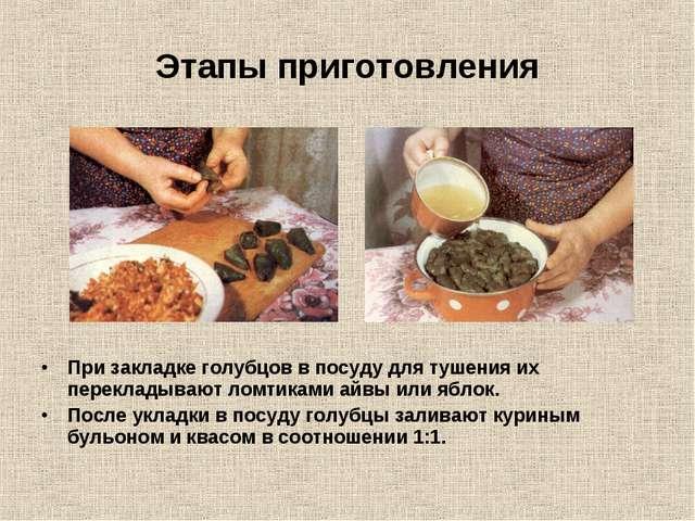 Этапы приготовления При закладке голубцов в посуду для тушения их перекладыва...