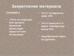 Закрепление материала Ситуация 1 Тесто не подходит или процесс брожения проис