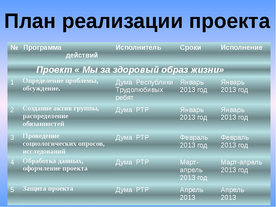 План реализации проекта № Программа действий Исполнитель Сроки Исполнение Про...