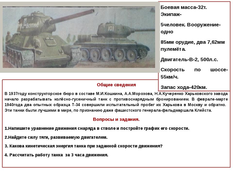 Общие сведения В 1937году конструкторское бюро в составе М.И.Кошкина, А.А.Мо...