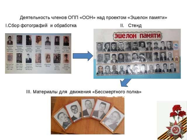 Деятельность членов ОПП «ООН» над проектом «Эшелон памяти» I.Сбор фотографий...