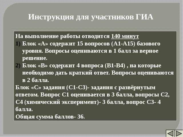На выполнение работы отводится 140 минут Блок «А» содержит 15 вопросов (А1-А...