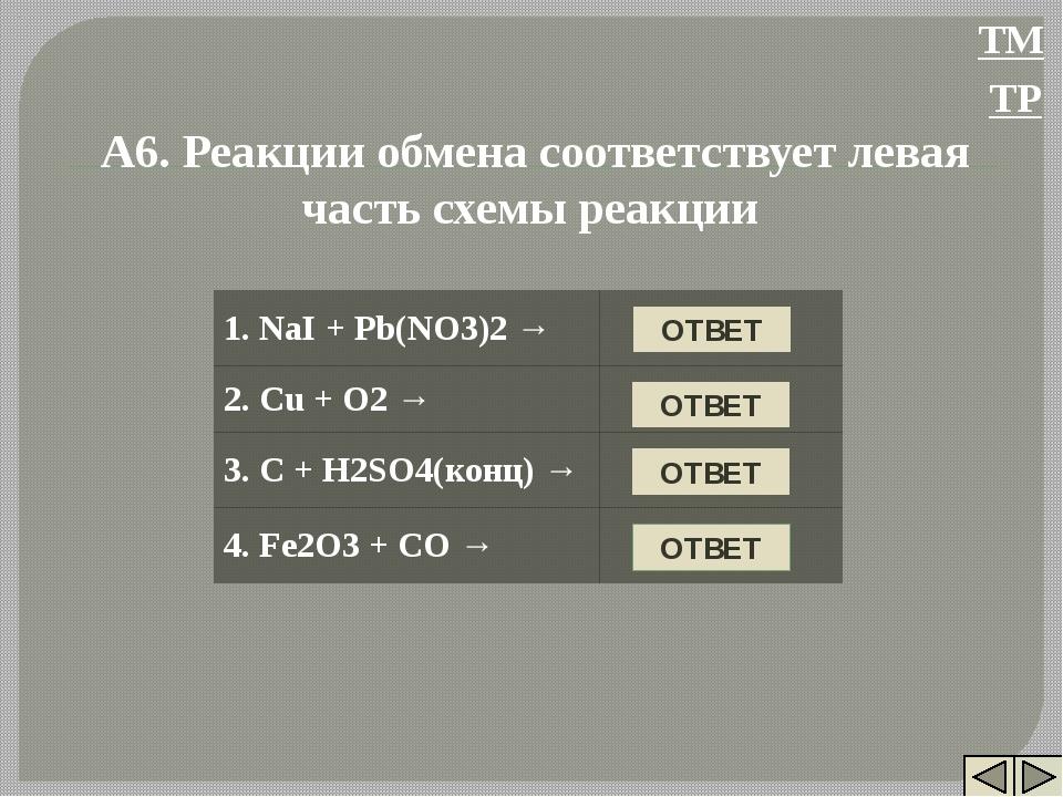 НЕТ А6. Реакции обмена соответствует левая часть схемы реакции НЕТ НЕТ ДА ОТВ...