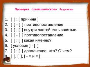 Проверка схематического диктанта [ ] : [ причина ] [ ] - [ ] противопоставлен