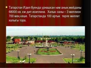 Татарстан Идел буенда урнашкан һәм аның мәйданы 68000 кв. км дип исәпләнә. Ха