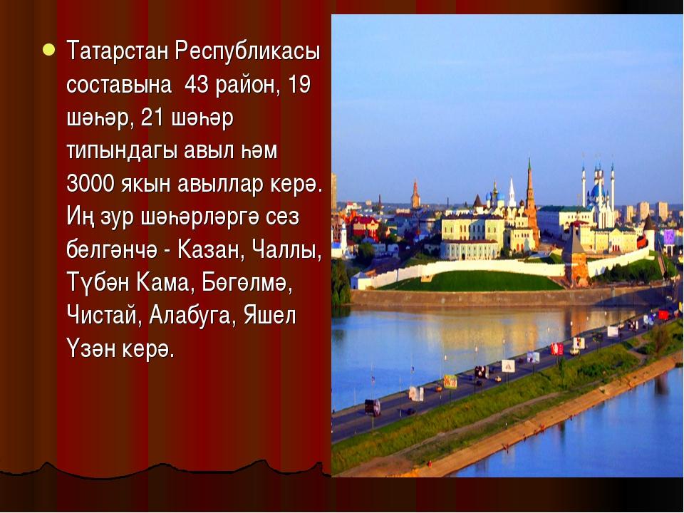 Татарстан Республикасы составына 43 район, 19 шәһәр, 21 шәһәр типындагы авыл...