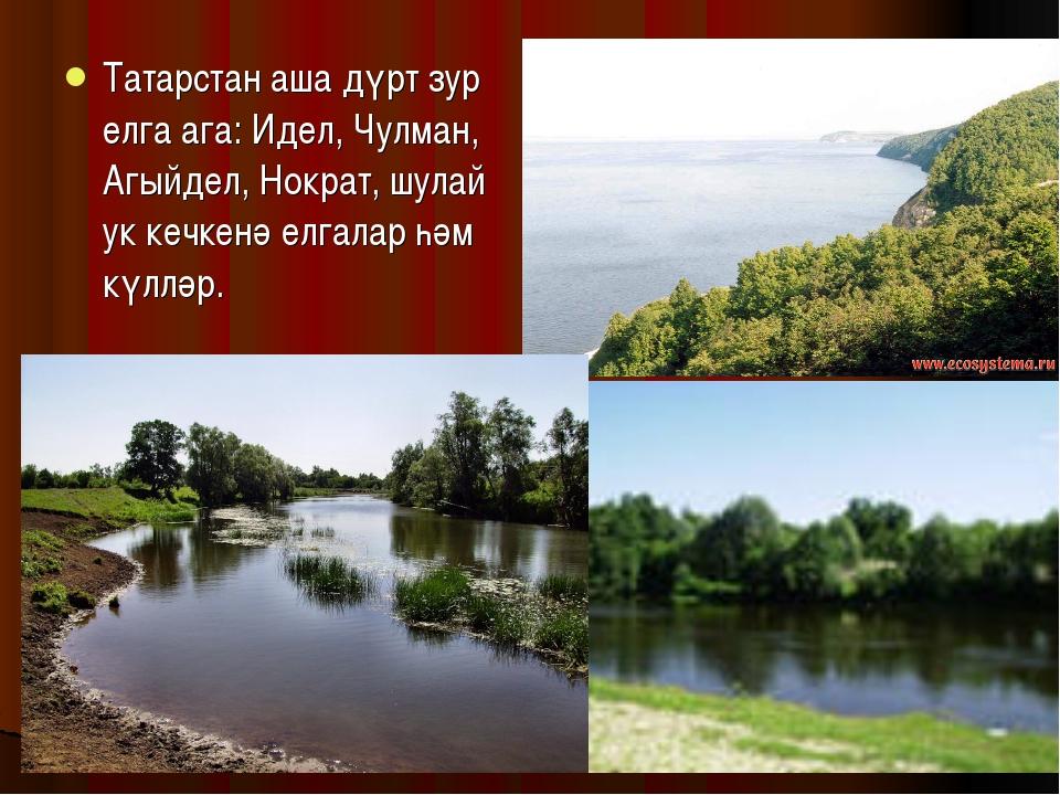 Татарстан аша дүрт зур елга ага: Идел, Чулман, Агыйдел, Нократ, шулай ук кечк...