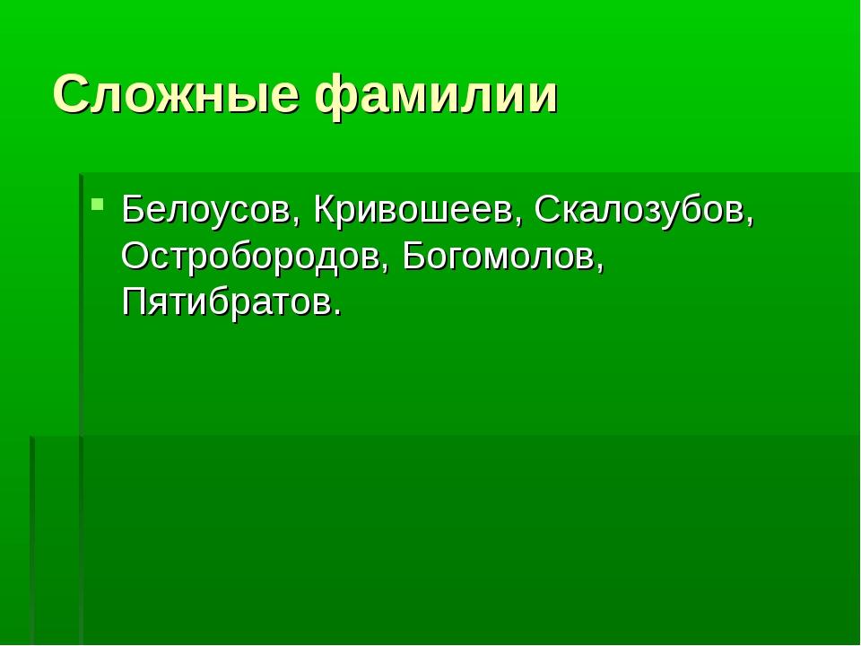 Сложные фамилии Белоусов, Кривошеев, Скалозубов, Остробородов, Богомолов, Пят...