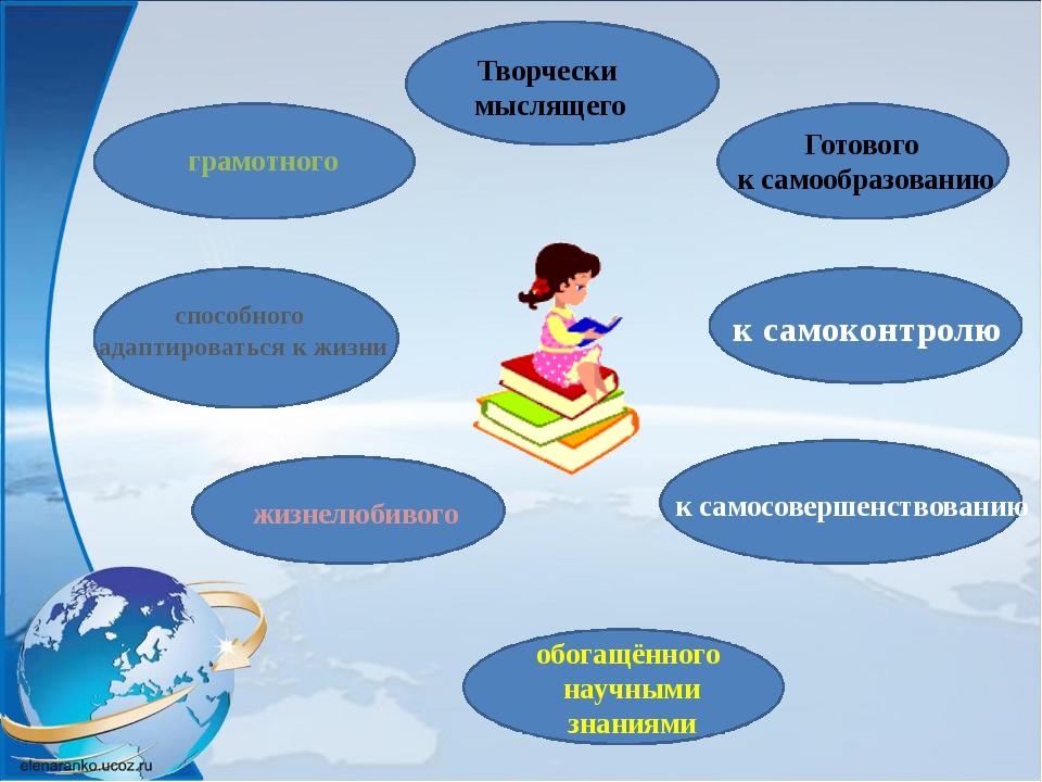 Творчески мыслящего грамотного способного адаптироваться к жизни Готового к...