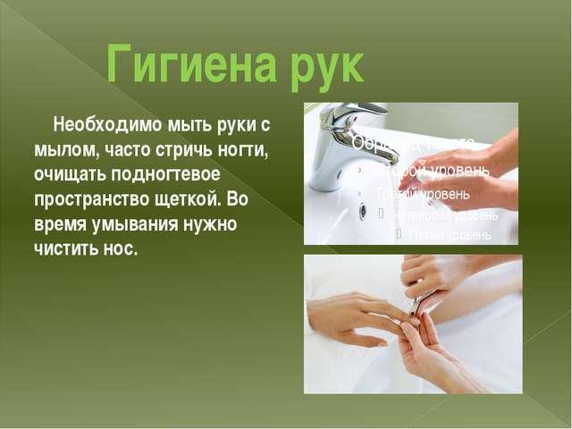 Гигиена рук Необходимо мыть руки с мылом, часто стричь ногти, очищать подног...