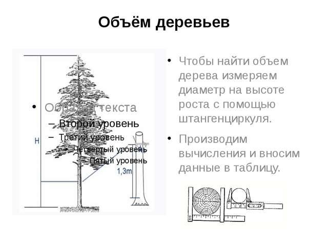 Объём деревьев Чтобы найти объем дерева измеряем диаметр на высоте роста с по...