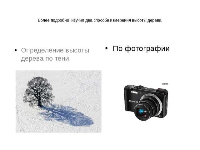 Более подробно изучил два способа измерения высоты дерева. По фотографии Опре...