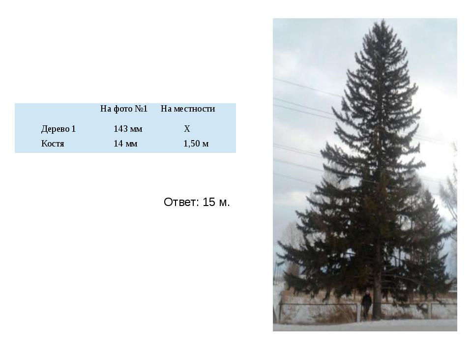 Ответ: 15 м. На фото №1 На местности Дерево 1 143 мм Х Костя 14 мм 1,50 м