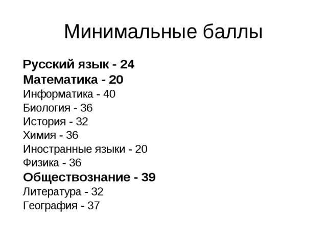Минимальные баллы Русский язык - 24  Математика - 20  Информатика - 40  Би...