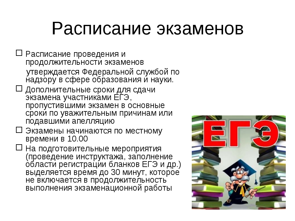 Расписание экзаменов Расписание проведения и продолжительности экзаменов утве...