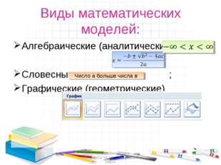 Виды математических моделей: Алгебраические (аналитические): Словесные ; Граф