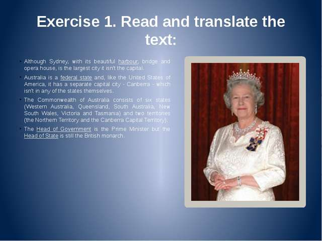 Exercise 1. Read and translate the text: Although Sydney, with its beautiful...