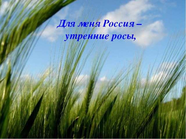 Для меня Россия – утренние росы,