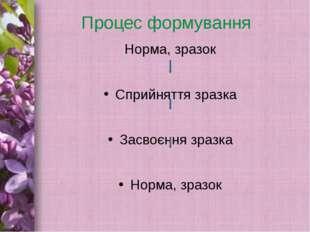 Процес формування Норма, зразок Сприйняття зразка Засвоєння зразка Норма, зра