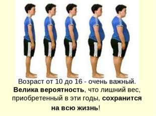 Возраст от 10 до 16 - очень важный. Велика вероятность, что лишний вес, приоб
