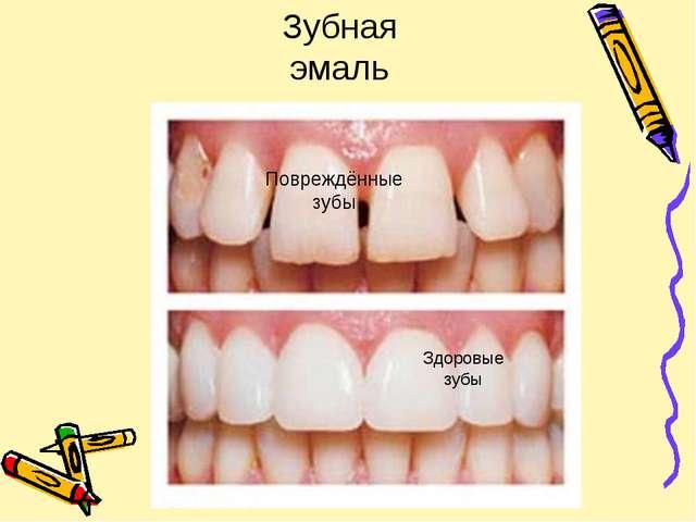 Повреждённые зубы Здоровые зубы Зубная эмаль
