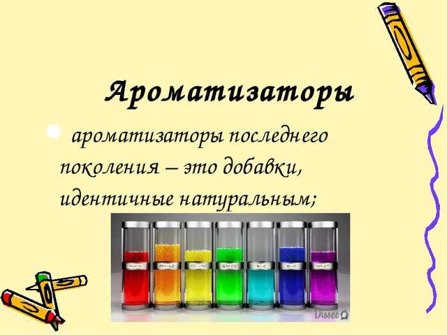 Ароматизаторы ароматизаторы последнего поколения – это добавки, идентичные на...